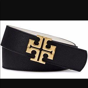Tory Burch reversible Logo Belt, Black/Classic Tan